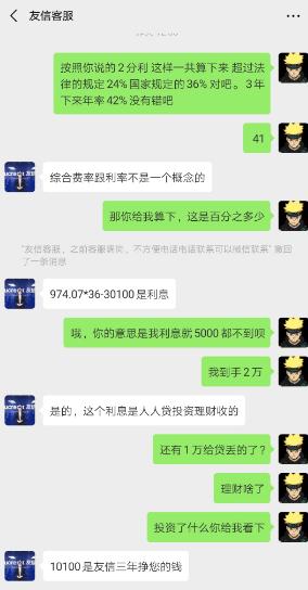 人人贷友信普惠阴阳合同还收取高额服务费